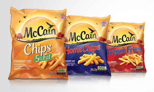 imagen de bolsas de patatas mccain Chips home chips y French fries