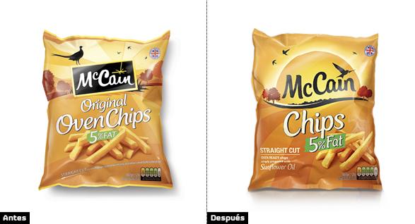 mccain packaging cambio rediseño de imagen de marca