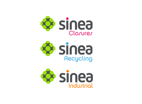 sinea submarcas con logos de colores sinea closures, sine recycling y sinea industrial
