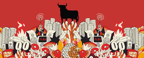 Imagen del toro de Osborne componente de la Feria Arco