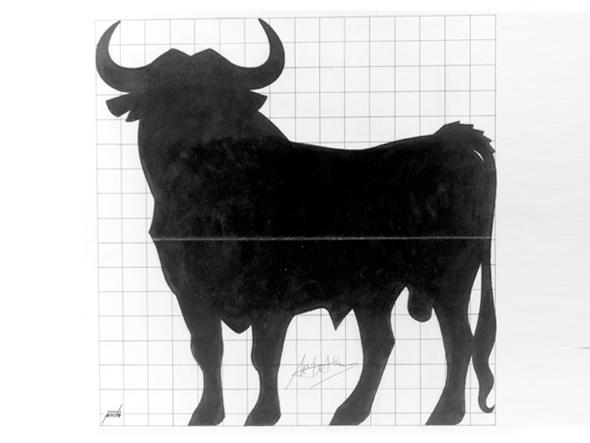 Boceto original del logotipo del toro de Osborne por Manuel Prieto