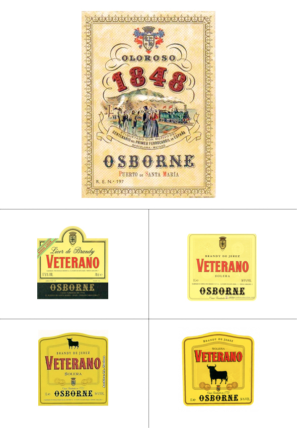 Imagen de la evolución de la etiqueta del Toro de Osbone desde 1848