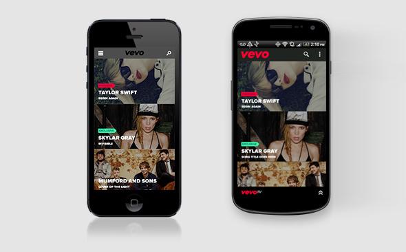 imagen de la plataforma vevo en un smartphone