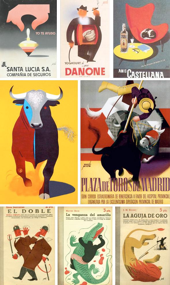 Publicidad y carteles del Toro de Osborne diseñados por Manuel Prieto