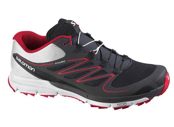 imagen de zapatillas de running salomon color blanco negro y rojo
