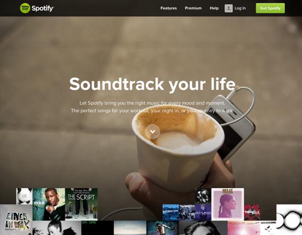 imagen del diseño de spotify en la web