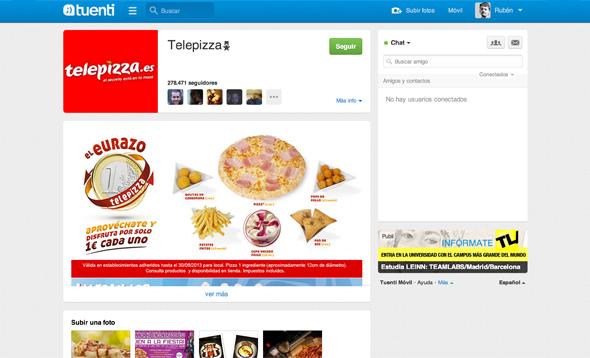 Telepizza imagen de la cuenta de Tuenti con el nuevo logo de marca