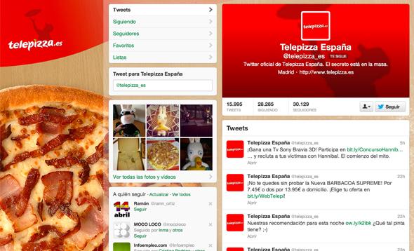 Telepizza imagen de la cuenta de twitter con el nuevo rediseño del logotipo