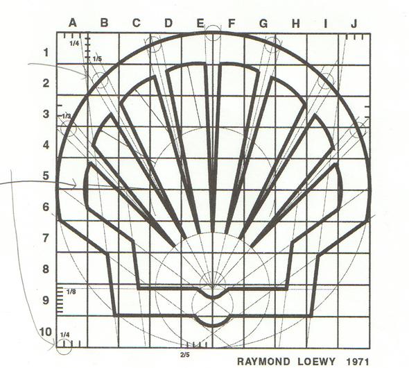 Raymond Loewy boceto original del rediseño del logo de Shell