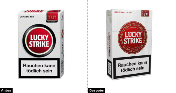 comparacion cajetillas lucky strike rediseñado nueva imagen de marca