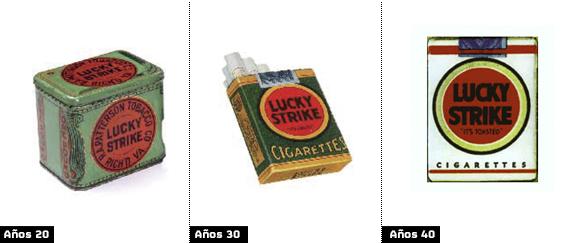 Raymond Loewy evolución del diseño de las cajetillas de Lucky Strike
