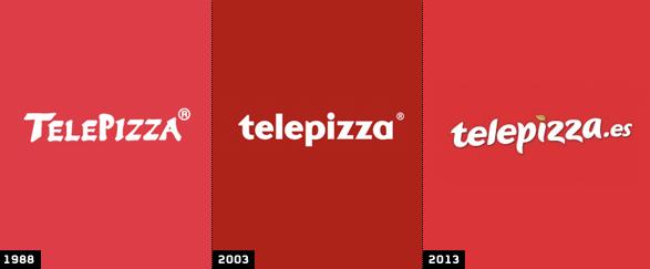 comparacion logo telepizza 1988 - logo telepizza 2003 y logo telepizza 2013