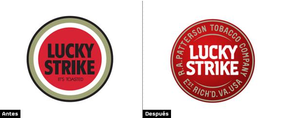 comparacion logo lucky strike antiguo y nuevo logotipo rediseñado