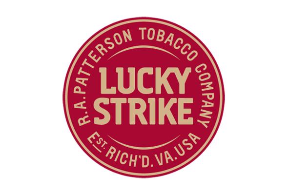 logotipo rojo circular de lucky strike