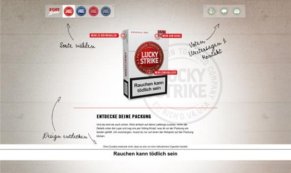 cajetilla original lucky strike roja publicidad