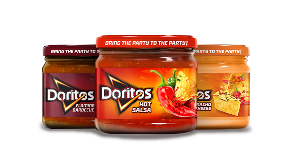 imagen bote de salsa doritos hot, nacho cheese y flaming barbecue