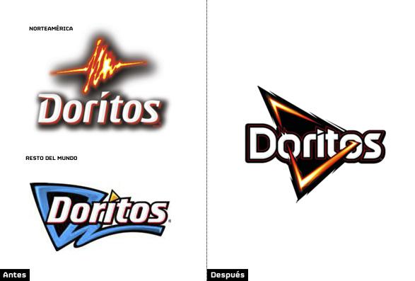 comparacion doritos logo norteamerica con resto del mundo y logotipo actual