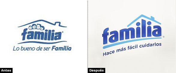 comparacion logotipo de la marca familia cambio de slogan