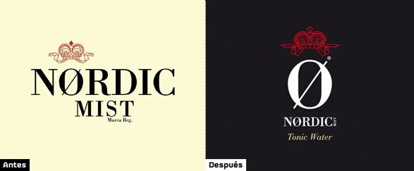 comparacion logotipos nordic mist anterior y nuevo logo tras rediseño
