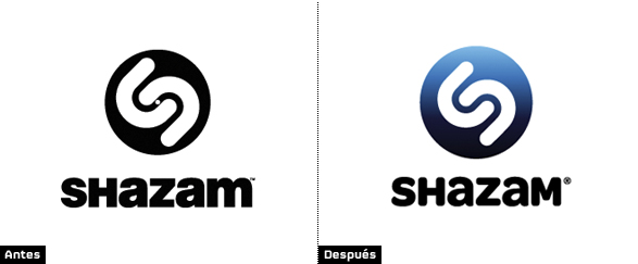 comparacion rediseño logotipo shazam color azul