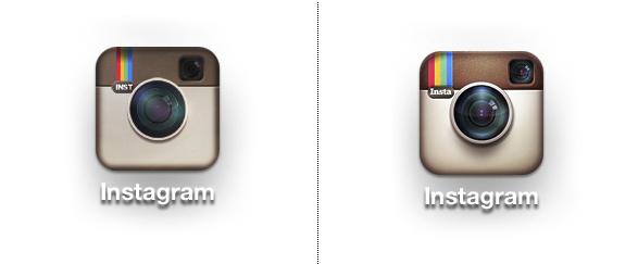 comparacion simbolo instagram rediseño 2011