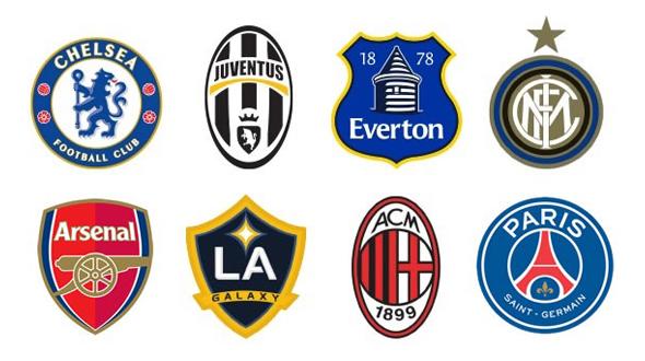 imagen de los escudos de Chelsea, Juventus, Everton, Inter, Arsenal, Milán y PSG