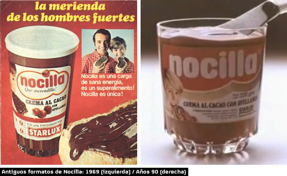 nocilla antiguos formatos 1969 y año 1990 nocilla crema de cacao