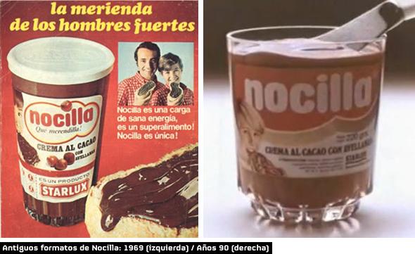 nocilla antiguos formatos 1969 y año 1990 nocilla crema de cacao