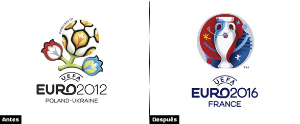 comparacion logo eurocopa 2012 polonia y Ucrania y logotipo eurocopa francia 2016