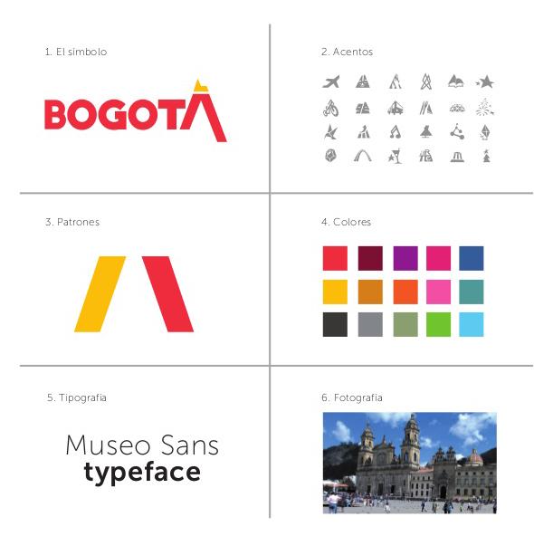 símbolo de bogotá patrones colores y tipografía