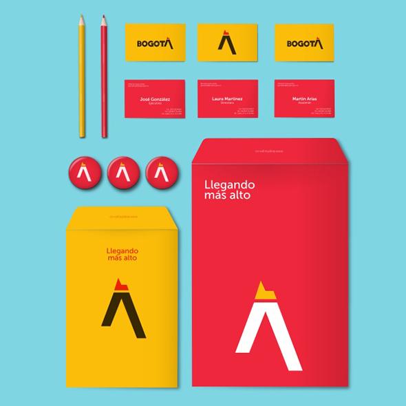 packaging de la marca ciudad bogotá colores amarillo y rojo