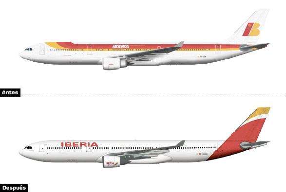 comparacion aviones iberia cambio de colores nueva imagen corporativa