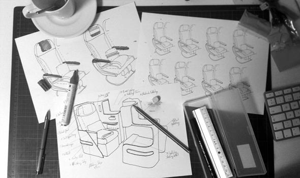 bocetos y prototipos del diseño de asientos en aviones iberia